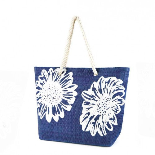 Front - Womens/Ladies Floral Print Woven Summer Handbag