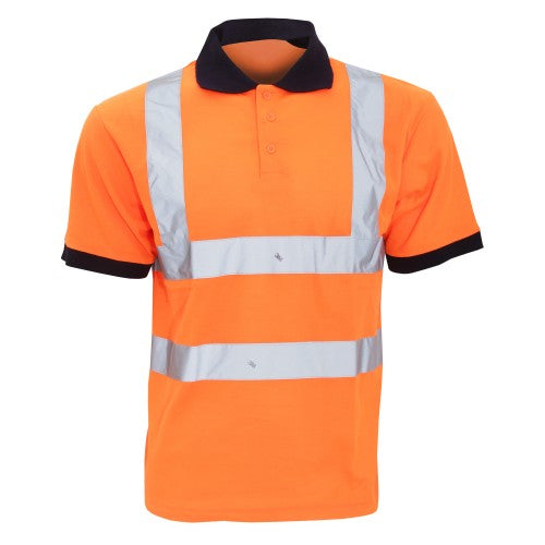 Front - Yoko Hi-Vis Short Sleeve Polo Shirt / Mens Workwear