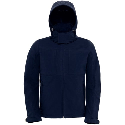 Front - B&C Mens Hooded Softshell Breathable, Waterproof & Windproof Jacket (Fleece Lining)