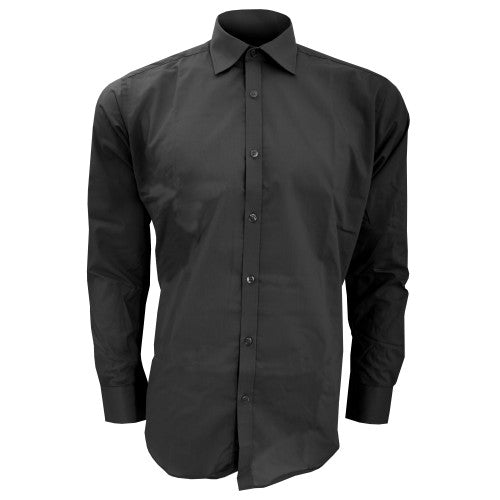Front - Kustom Kit Mens Slim Fit Long Sleeve Business / Work Shirt