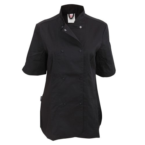 Front - Dennys Womens/Ladies Short Sleeve Fitted Chef Jacket