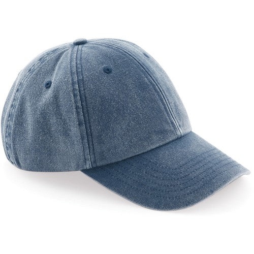Front - Beechfield Unisex Low Profile Vintage Denim-Look Cap
