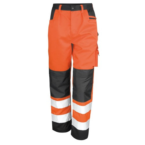 Front - Result Safeguard Adults Unisex Hi Viz Cargo Trousers