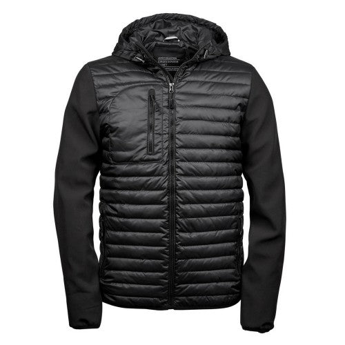 Front - Teejays Mens Hooded Full Zip Crossover Jacket