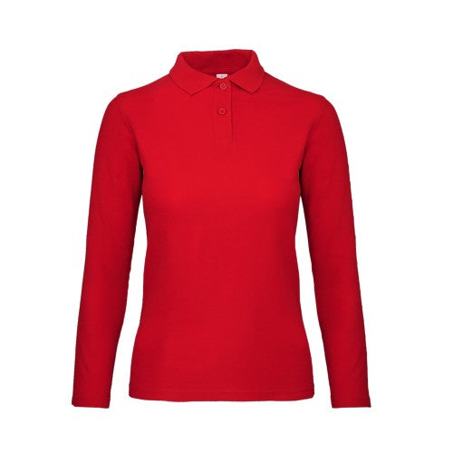 Front - B&C ID.001 Womens/Ladies Long Sleeve Polo