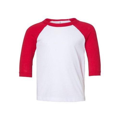 Front - Bella + Canvas Baby Toddler 3/4 Sleeve Baseball Tee