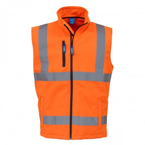 Front - Yoko Mens Hi Vis Softshell Bodywarmer / Workwear (Pack of 2)
