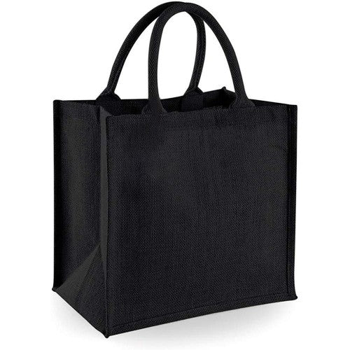 Front - Westford Mill Jute Mini Tote Shopping Bag (14 Litres) (Pack of 2)