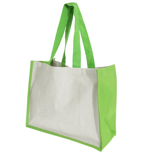 Front - Westford Mill Printers Jute Cot Shopper Bag (21 Litres) (Pack of 2)