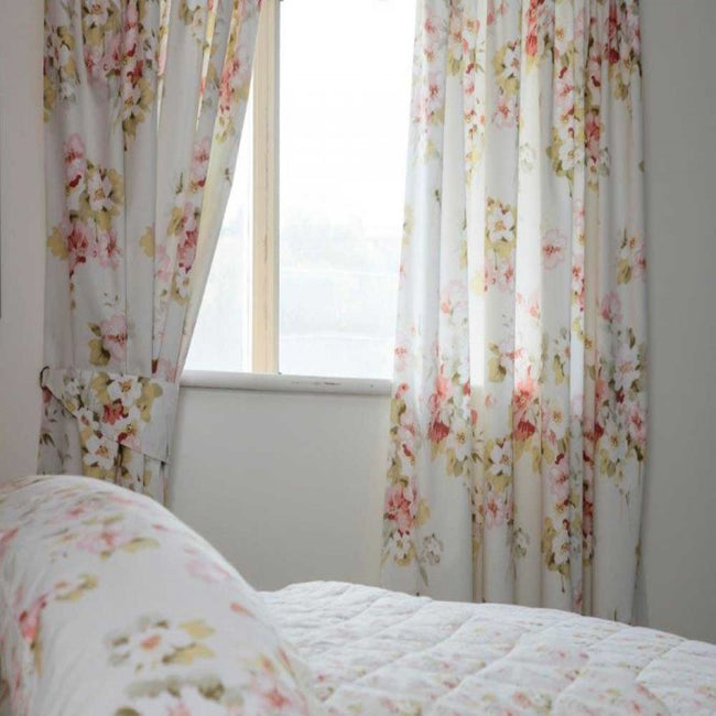 Front - Belledorm Cherry Blossom Lined Curtains