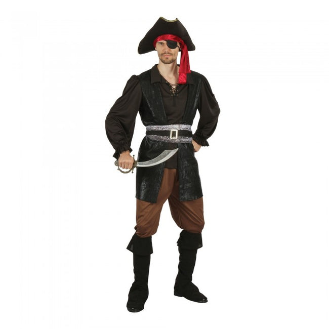 Front - Bristol Novelty Unisex Pirate Captain Costume With Eye Patch