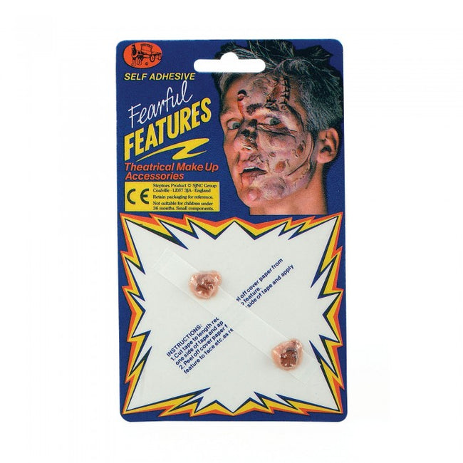 Front - Bristol Novelty Fearful Features Self Adhesive Warts (Pack of 2)