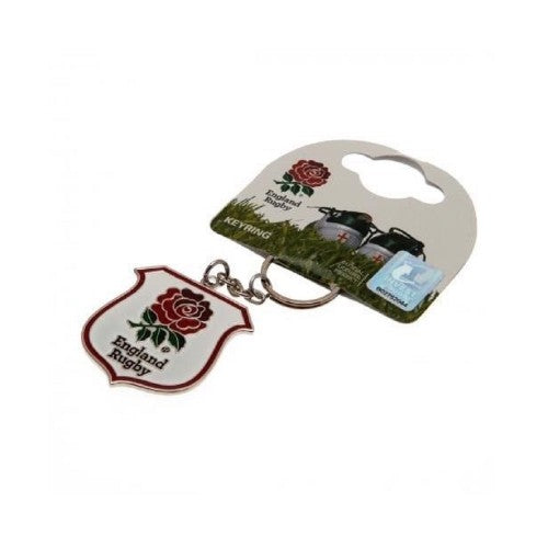 White-Red - Side - England RFU Rugby Crest Keyring