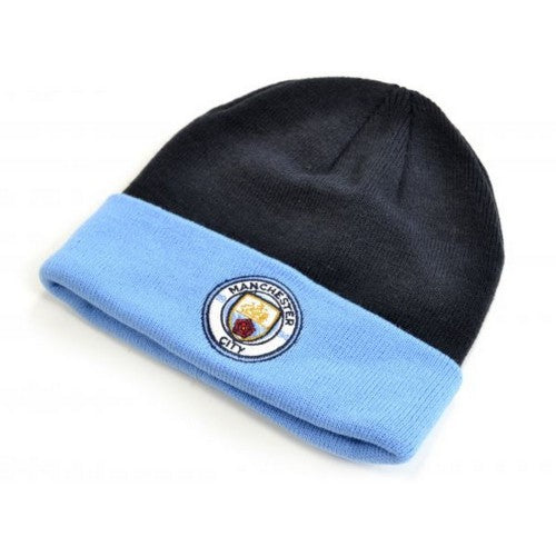 Front - Manchester City FC Official Adults Monroe Cuff Knitted Hat