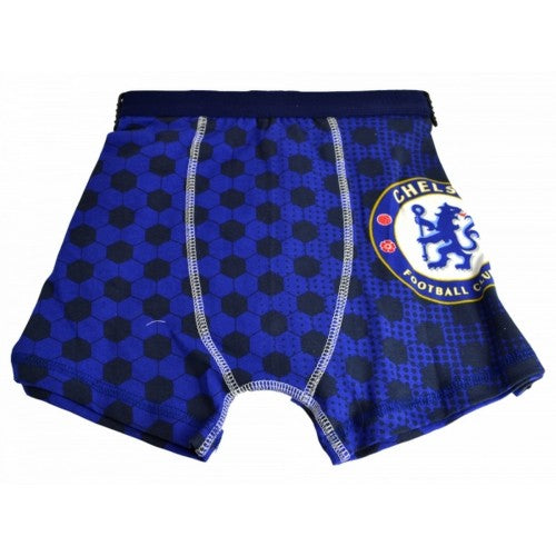 Front - Chelsea FC Official Childrens Boys Football Boxer Shorts