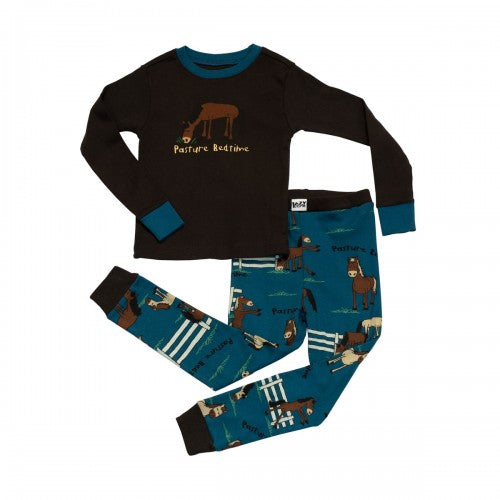 Front - LazyOne Childrens/Kids Pasture Bedtime Long Sleeved Pyjama Set