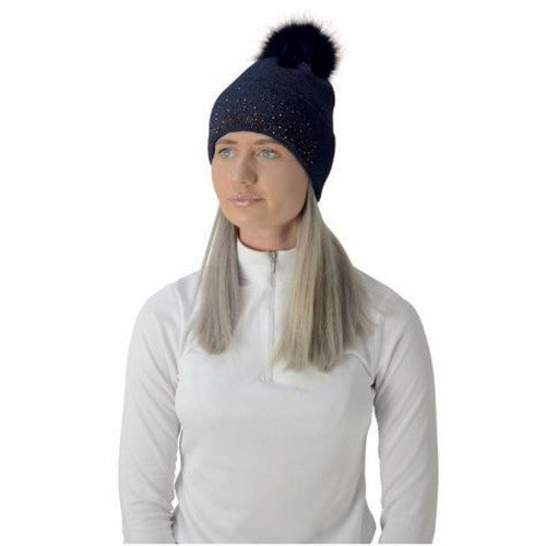 Front - HyFASHION Womens/Ladies Alaska Diamante Bobble Hat