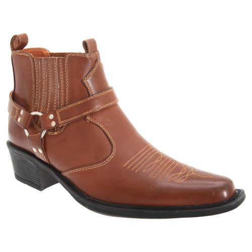 Front - US Brass Mens Eastwood Cowboy Ankle Boots