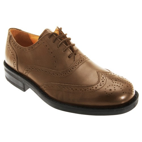 Front - Roamers Mens Flexi Leather Oxford Brogue Shoes