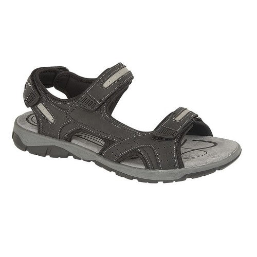 Front - PDQ Mens 3 Touch Fastening Pig Leather Sports Sandals