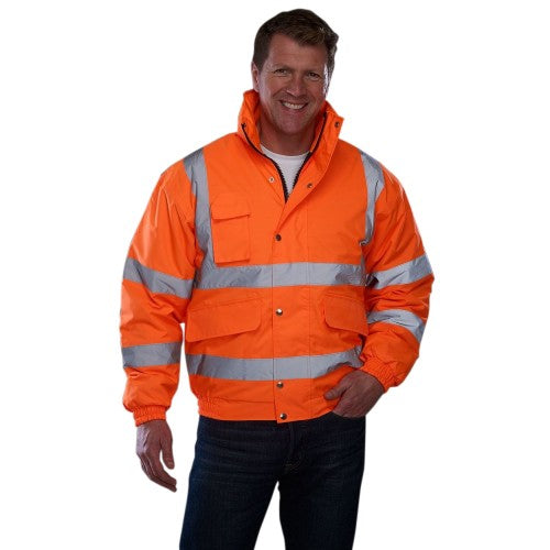 Front - Grafters Unisex Hi-Visibility Waterproof Bomber Jacket