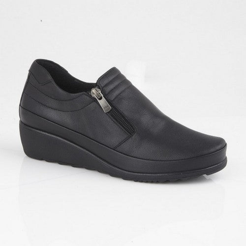 Front - Mod Comfys Womens/Ladies Zipped Gusset Casual Leather Shoe