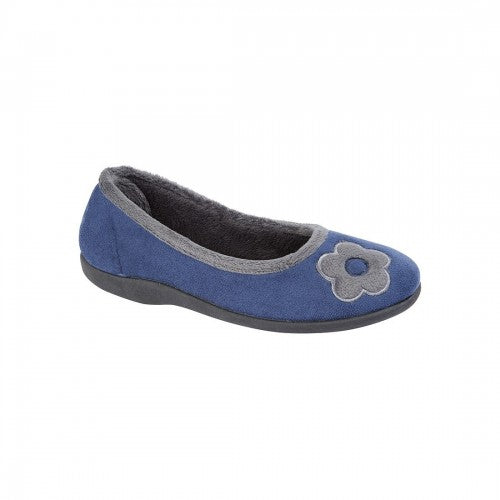 Front - Sleepers Womens/Ladies June Ballerina Velour Slippers