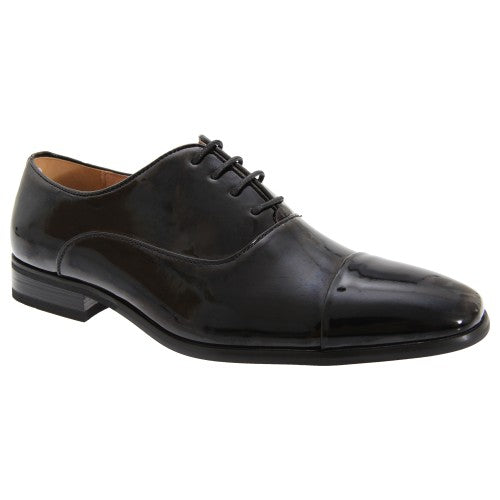 Front - Goor Mens Pleated Cap Oxford Tie Patent Shoes