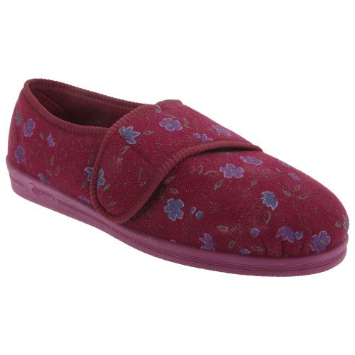 Front - Comfylux Womens/Ladies Sally Floral Side Seam Superwide Slippers