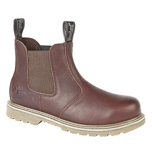 Front - Woodland Mens Tumbled Leather Gusset Chelsea Boots