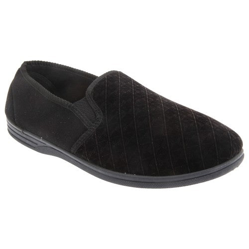 Front - Zedzzz Mens Kevin Velour Twin Gusset Slippers