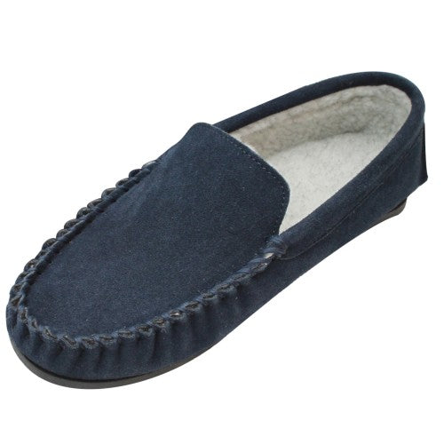 Front - Eastern Counties Leather Mens Berber Fleece Lined Suede Moccasins