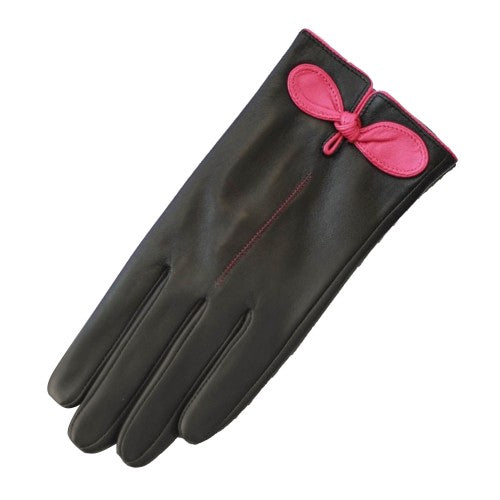 Front - Eastern Counties Leather Womens/Ladies Contrast Bow Leather Gloves
