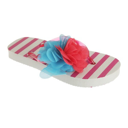 Front - Childrens Girls Striped Flip-Flops With 3D Flower Detail