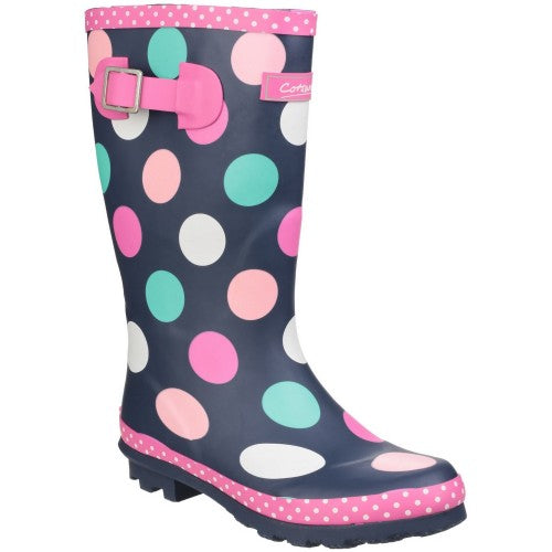 Front - Cotswold Childrens Girls Dotty Spotted Wellington Boots