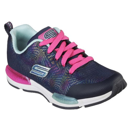 Front - Skechers Childrens/Girls Jumptech Optic Haze Lace-Up Trainers