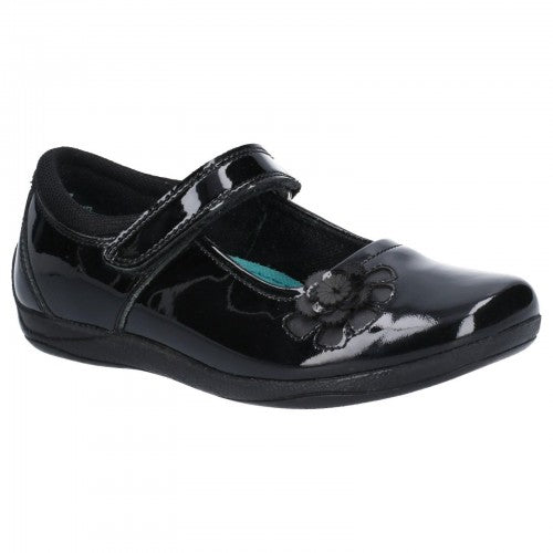 Front - Hush Puppies Girls Jessica Patent Leather School Shoe
