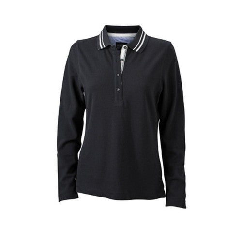 Front - James and Nicholson Womens/Ladies Long Sleeved Polo