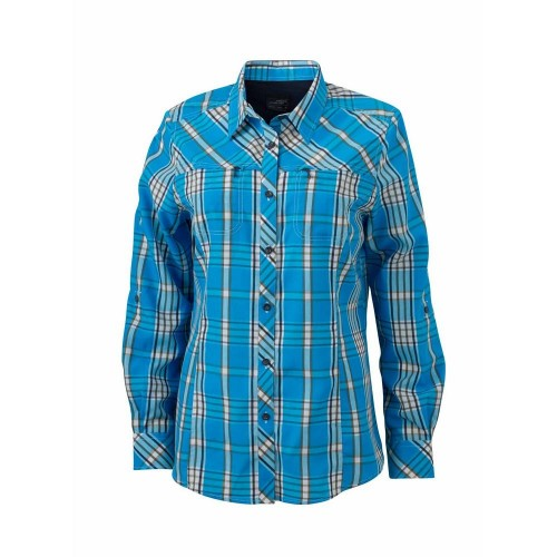 Front - James and Nicholson Womens/Ladies UV Protected Long Sleeve Trekking Shirt