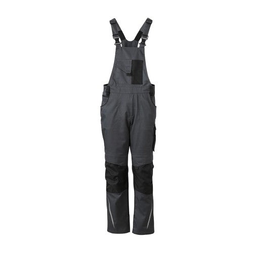 Front - James and Nicholson Unisex Workwear Pants with Bib