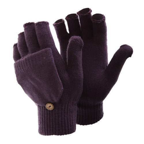 Front - FLOSO Ladies/Womens Winter Capped Fingerless Magic Gloves