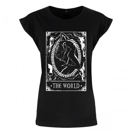 Front - Deadly Tarot Womens/Ladies The World T Shirt