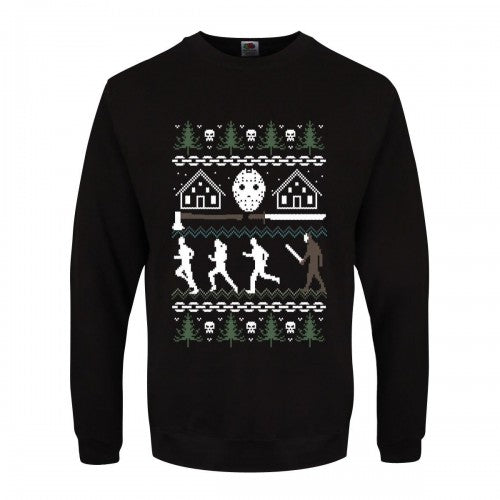 Front - Grindstore Mens Camp Crystal Lake Christmas Jumper
