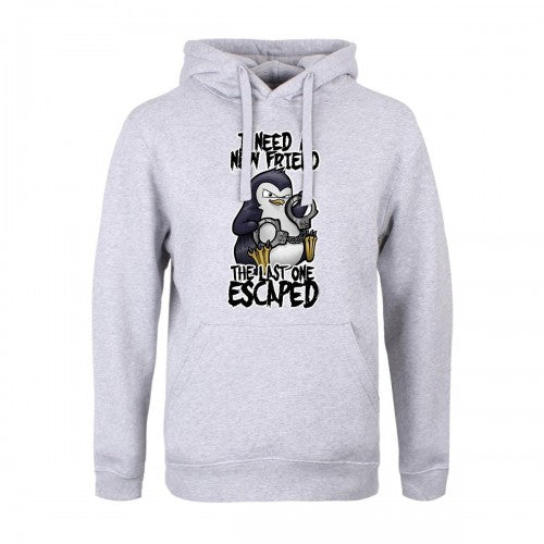 Front - Psycho Penguin Mens I Need A New Friend Hoodie