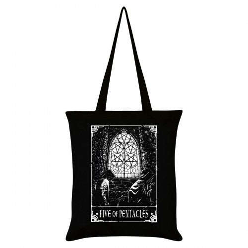 Front - Deadly Tarot Five Of Pentacles Tote Bag