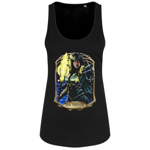 Front - Deadly Tarot Womens/Ladies Obsidian The High Priestess Vest Top
