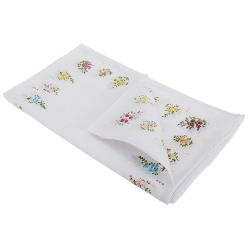 Front - Womens/Ladies Floral Cotton Rich Handkerchiefs (Pack Of 8)