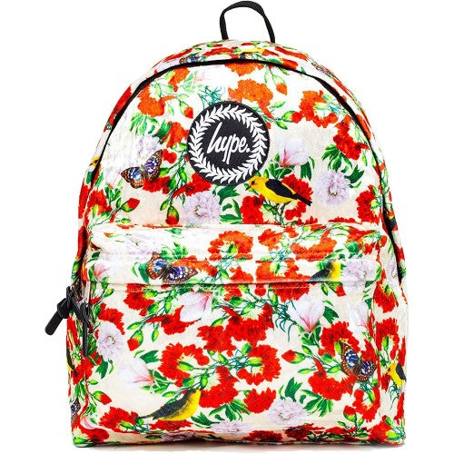 Front - Hype Velour Floral Backpack