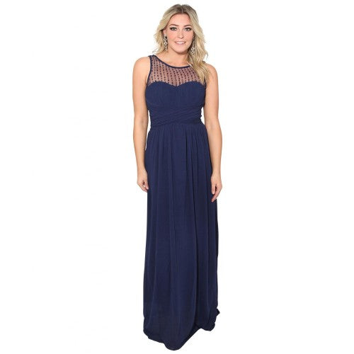 Front - Krisp Womens/Ladies Gem And Mesh Front Chiffon Maxi Dress