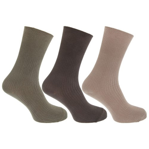 Front - Mens Casual Non Elastic Bamboo Viscose Socks (Pack Of 3)